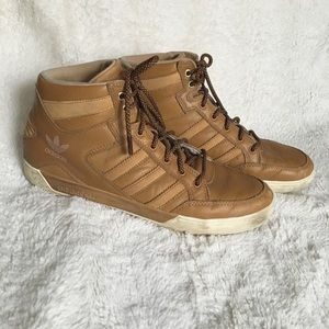 Adidas Tan Leather Hi Top Sneakers (Mens 10.5)